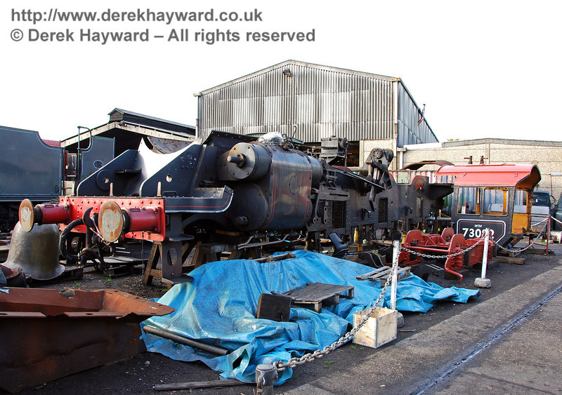 The frames and cab from 73082 Camelot outside Sheffield Park Workshops.  The cab roof has recently been painted. 23.10.2009