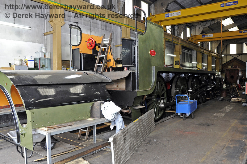 The frames and cab roof for 847 inside Sheffield Park Workshops.  01.06.2013  7161