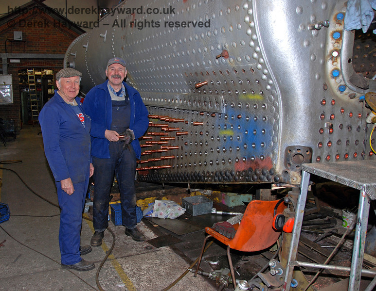 A very large number of copper stays are now being installed in the boiler for 847. Sheffield Park Workshops 24.01.2010