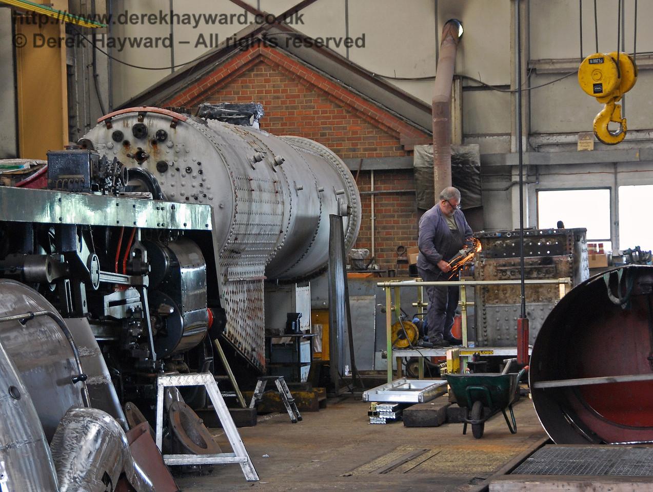The boiler from 847 inside Sheffield Park Workshops. 08.06.2008