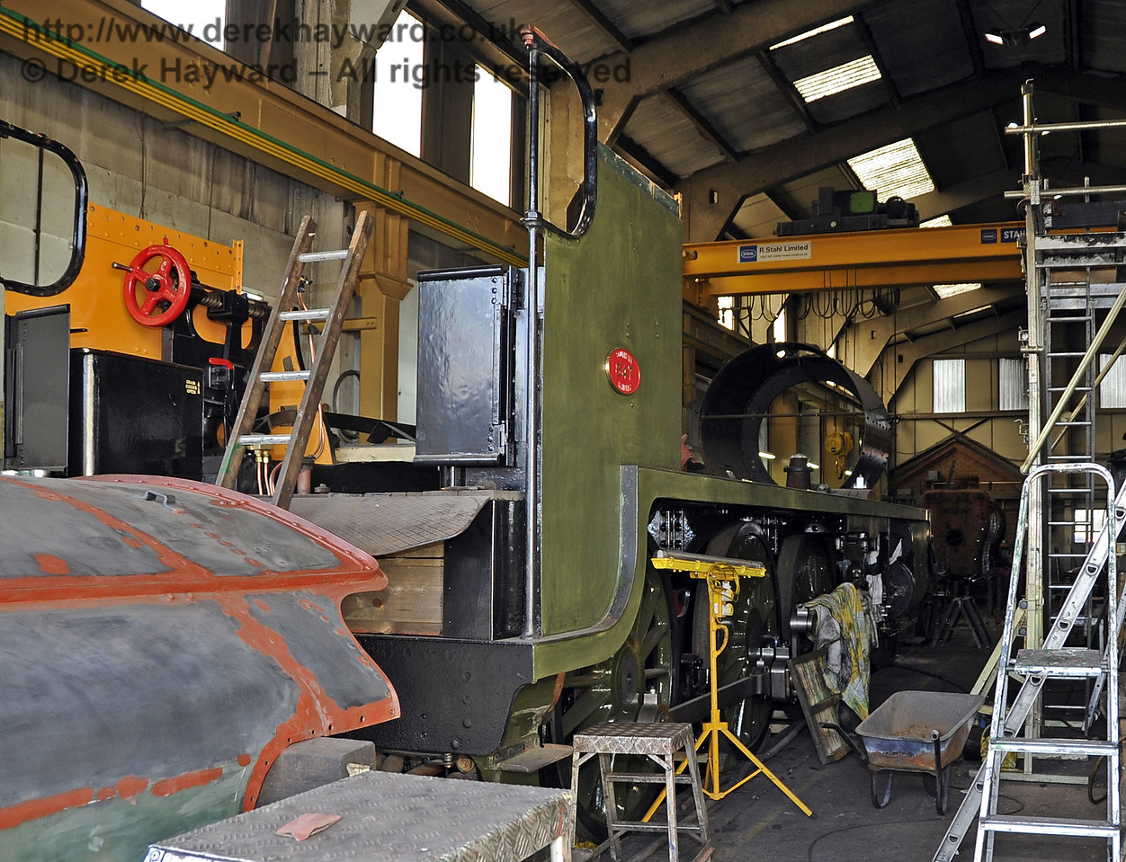 The frames for 847 inside Sheffield Park Workshops.  06.04.2013  6717
