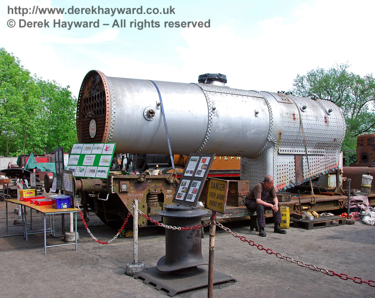 The boiler from 847 outside Sheffield Park Shed. 10.05.2008