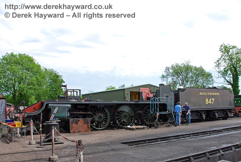 Last Thursday (21 May) the frames and wheels of 847 were reunited. The tender has also joined the locomotive.  Now, where did we leave the boiler....? Sheffield Park Shed 24.05.2009