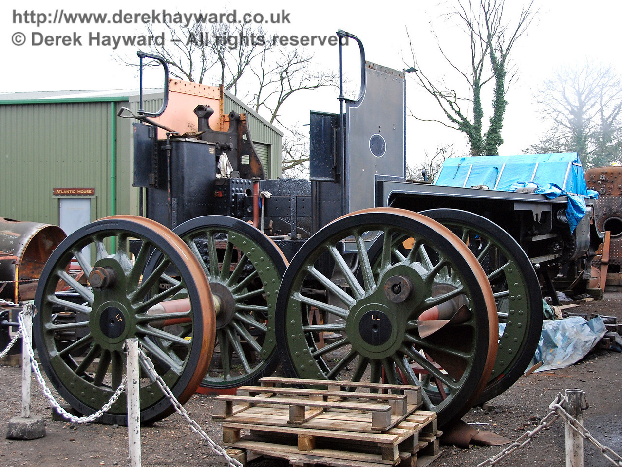 The frames from 847 with wheelsets in front. Sheffield Park Shed 23.02.2008