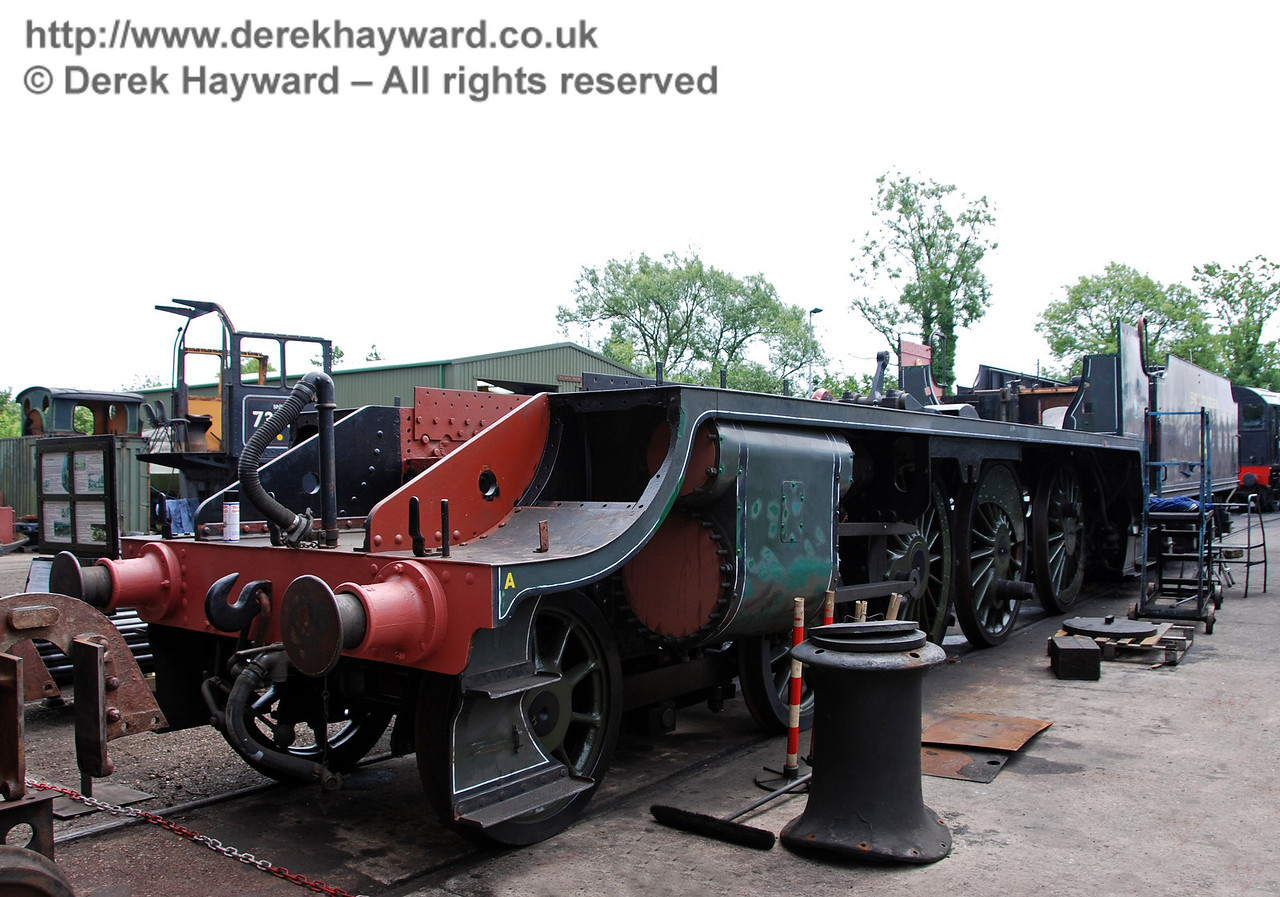 The newly reassembled frames and tender for 847. It's boiler is currently in the workshops. Sheffield Park Shed 17.06.2009