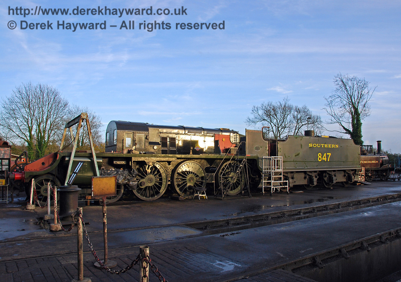 The frames, wheels and tender from 847 outside Sheffield Park Workshops 15.11.2009