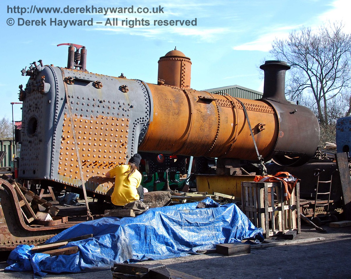 Work was continuing on the boiler from 32473. Sheffield Park Shed 21.02.2009