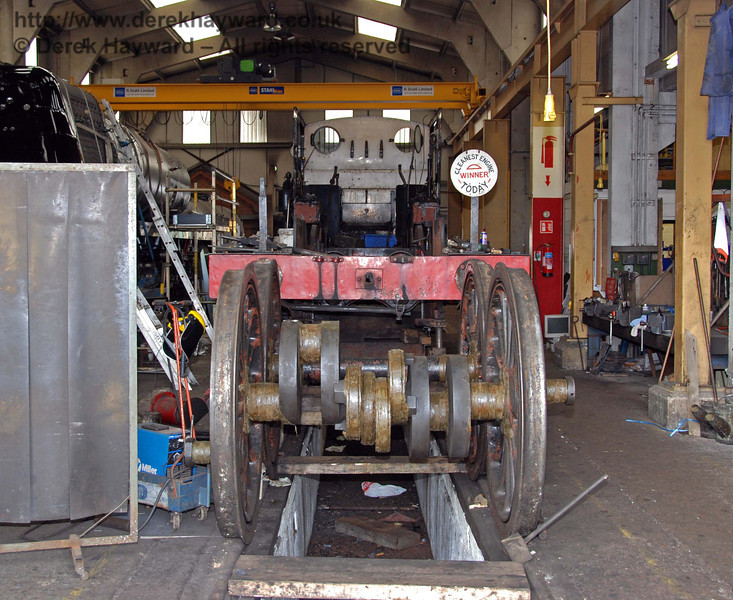 A second shot of the frames from 32473 in the workshops at Sheffield Park on 16.08.2008.  The award for Cleanest Engine was subject to a steward's enquiry...