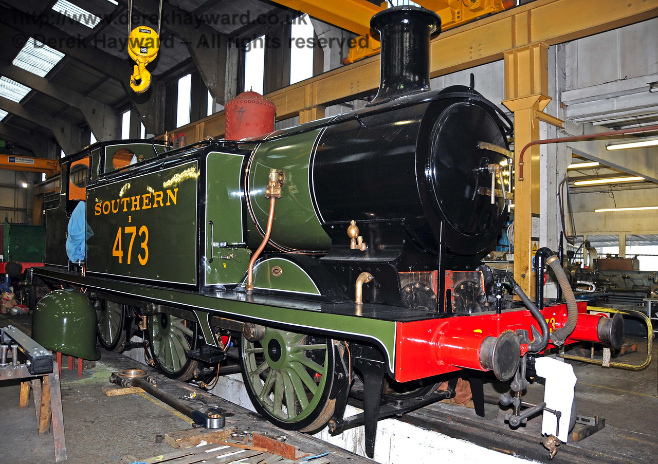 B473 has returned to Sheffield Park Workshops for minor adjustments following a steam test. 01.01.2010