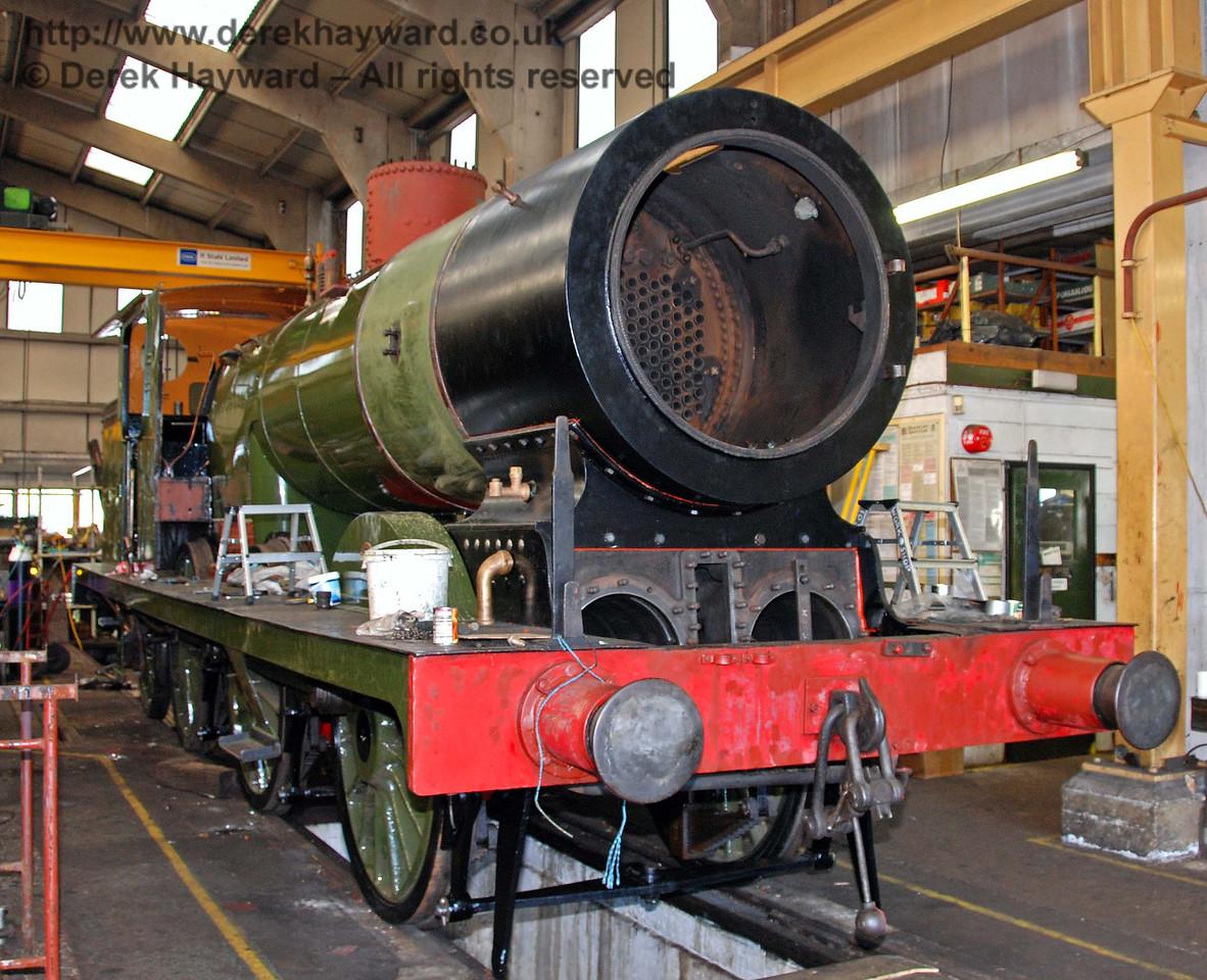 The boiler for B473 is now back in it's frames. Sheffield Park Workshops 23.08.2009