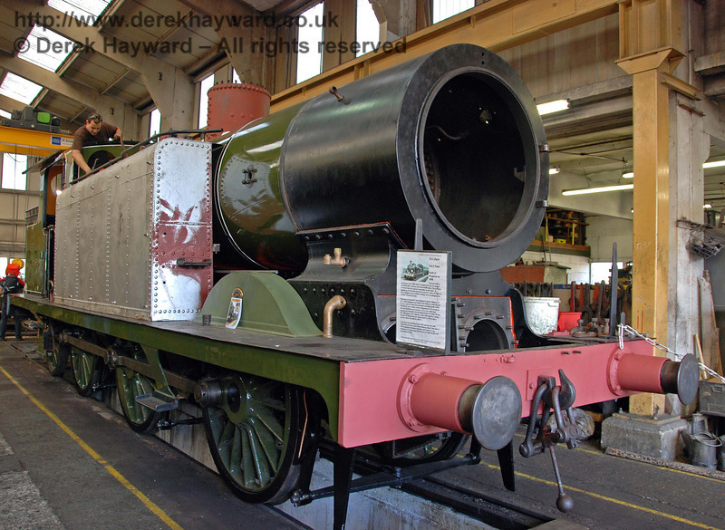 B473 in Sheffield Park Workshops. It can be seen that the side tanks have been fitted. 12.09.2009
