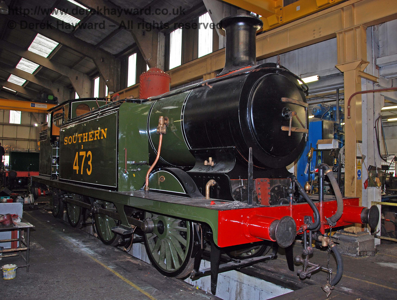 B473 in Sheffield Park Workshops 01.12.2009.  Work on this engine is not yet finished.