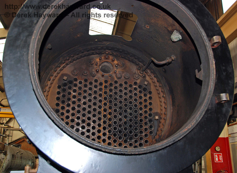 A close up of the smokebox of B473 showing the new tubes. Sheffield Park Workshops 23.08.2009