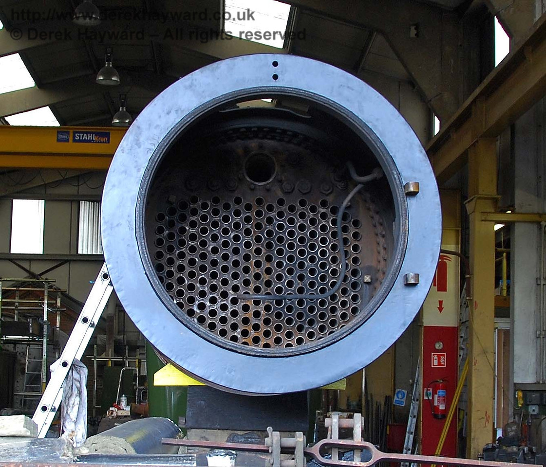 A close up of the new tubes in the boiler from B473.  Sheffield Park Workshops 16.08.2009