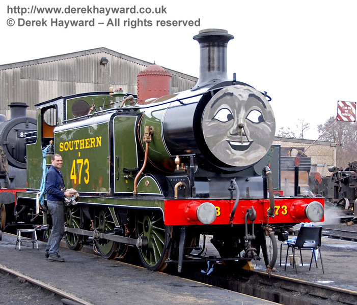 B473 gets a polish outside Sheffield Park Shed 24.01.2010. The locomotive has a face and a removed dome cover to prevent photography of the engine in it's final form before it is re-launched on 30 January.