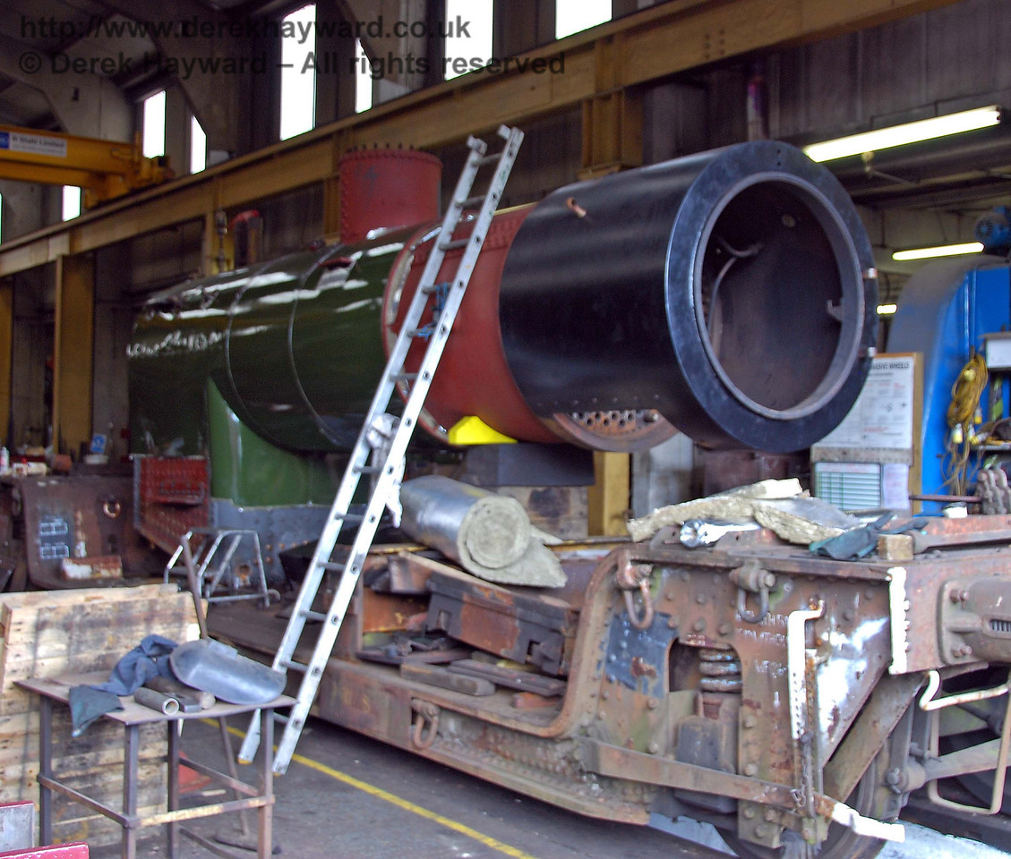 The boiler from B473 in Sheffield Park Workshops. 16.08.2009
