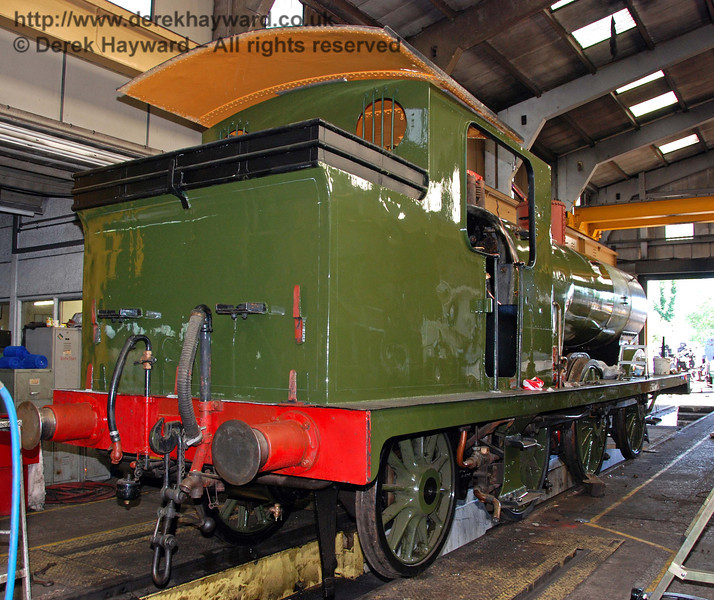 A rear view of B473, showing the new green livery. Sheffield Park Workshops 23.08.2009