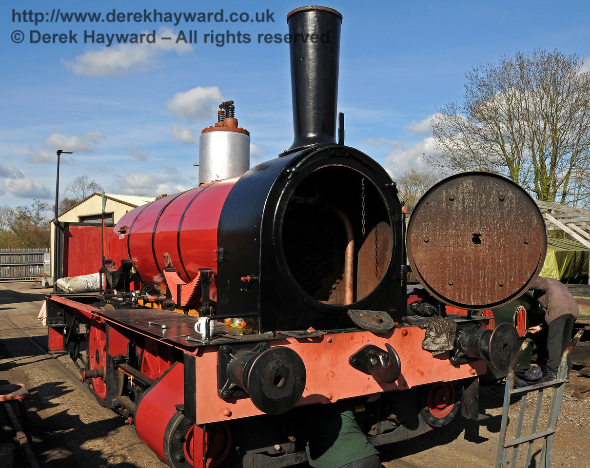 Work was continuing on Baxter, which has now been partially painted. Sheffield Park Workshops 11.04.2010  1860