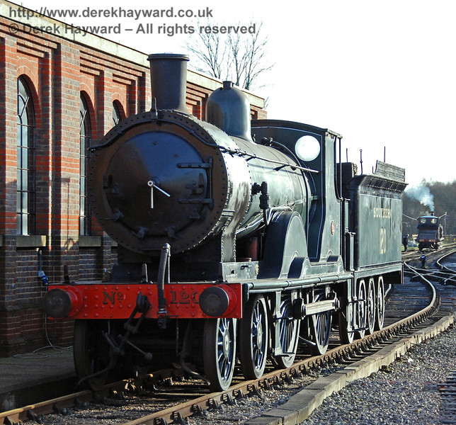 LSWR Greyhound T9 120 on display outside the shed at Sheffield Park. 12.01.2008 This locomotive left Bluebell for it's new home on the Bodmin and Wenford Railway on 1 February 2008.