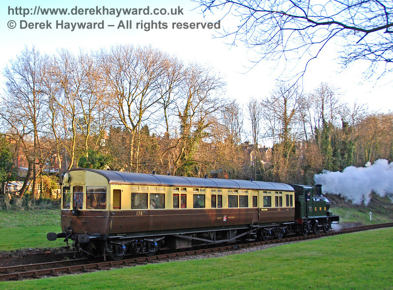 The GWR Auto train travels north through the site of West Hoathly station. 09.02.2008
