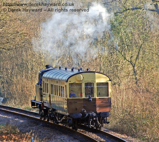The GWR Auto train steams south through Lindfield Wood. 09.02.2008
