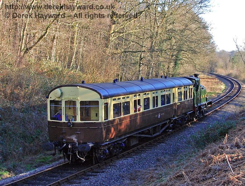 The GWR Auto train runs south through Lindfield Wood. 09.02.2008