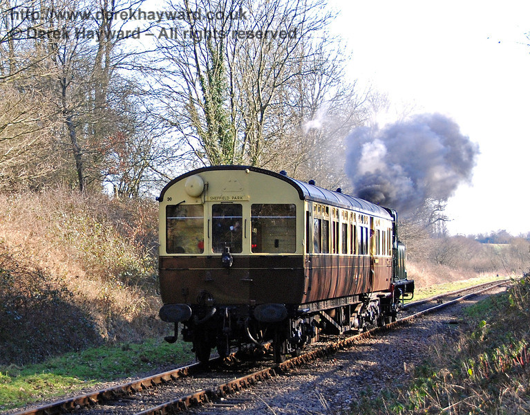 The GWR Auto train approaches Ketches Halt.  Caught you with the wrong destination board again, chaps.  It was going to Kingscote! 10.02.2008
