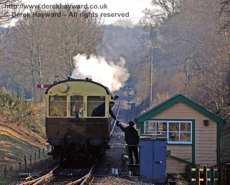 The driver in the Auto-coach passes the single line token to the signalman on arrival at Kingscote. 17.02.2008