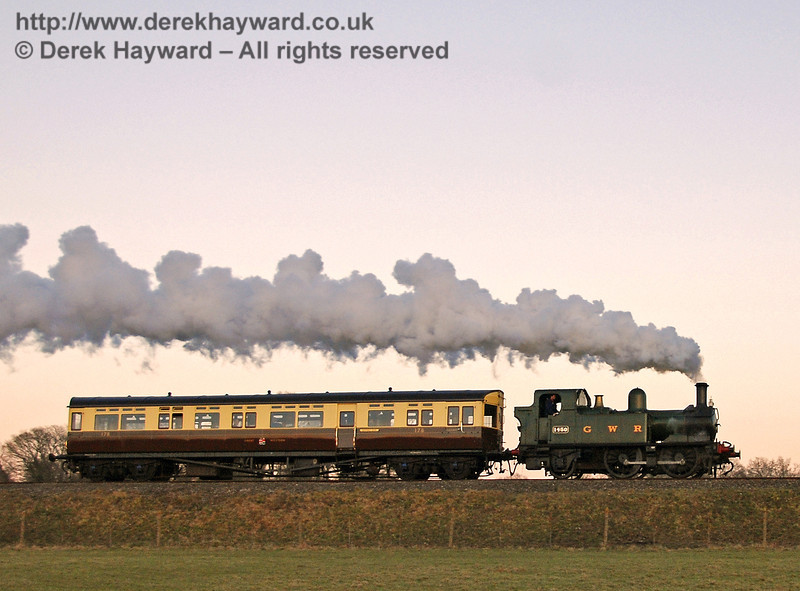 The GWR Auto train leaves Horsted Keynes at dusk (after the majority of the photographic pack had left!) 17.02.2008