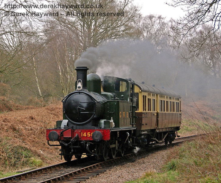1450 and the GWR Auto-coach steam south out of Lindfield Wood. Branch Line Weekend 24.02.2008