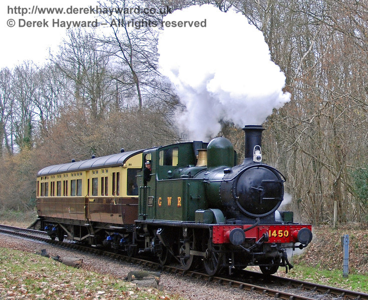 1450 and the GWR Auto-coach leaves Ketches Halt. Branch Line Weekend 23.02.2008