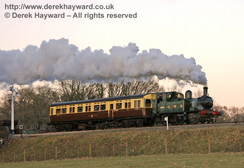 The GWR Auto train leaves Horsted Keynes at dusk. 17.02.2008