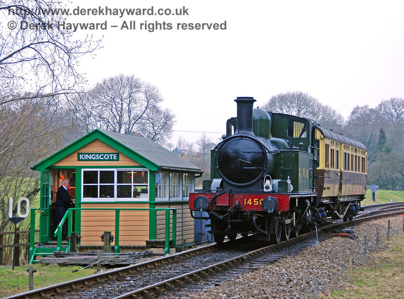 1450 and the GWR Auto-coach pause beside Kingscote signal box. Branch Line Weekend 24.02.2008