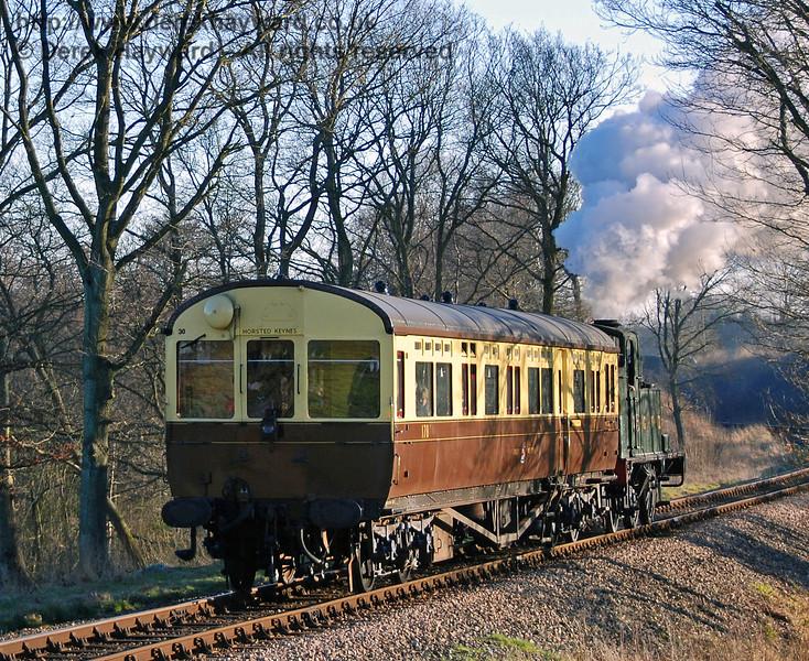 The GWR Auto train steams north towards Three Arch Bridge. 17.02.2008
