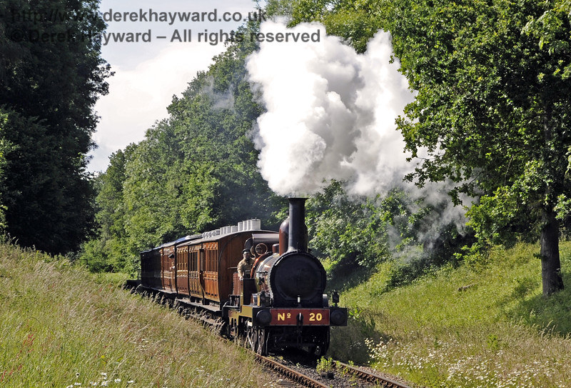 Furness Railway No.20 passes through Ketches Halt with the empty stock from a private filming charter.  19.06.2012  5205
