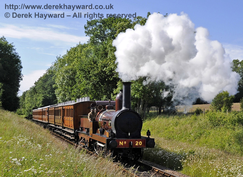 Furness Railway No.20 hauling empty stock from a private filming charter at Ketches Halt. 19.06.2012  5209