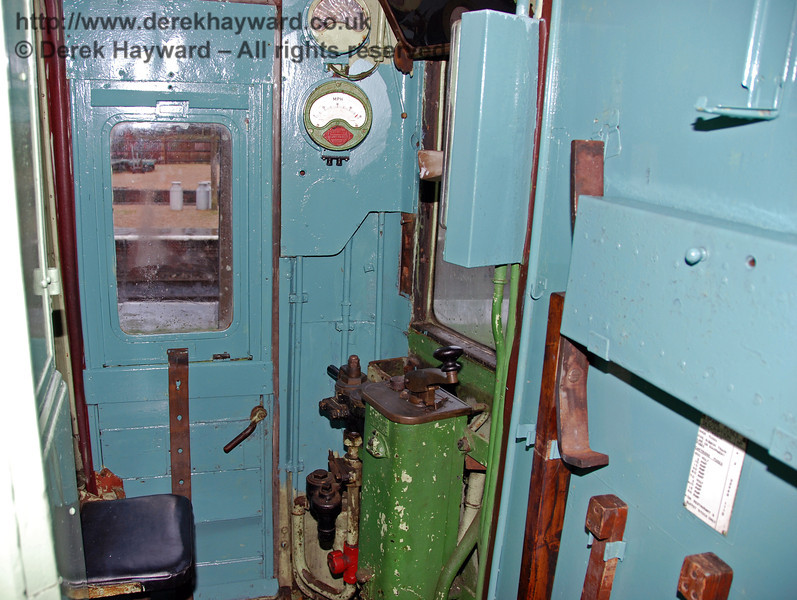 The interior of the driver's cab of motor coach 11201 from 4-COR 3142. Horsted Keynes 25.02.2007