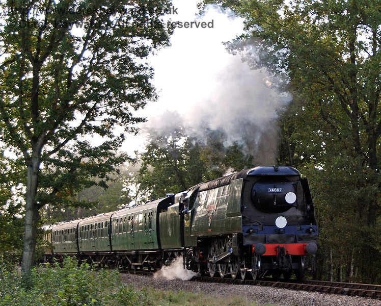 34007 Wadebridge attacks the climb to Three Arch Bridge with some enthusiasm. 19.10.2007