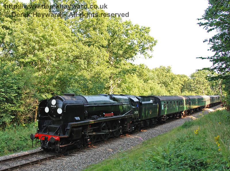 34028 Eddystone approaches Birchstone Bridge with a service train. 11.08.2007