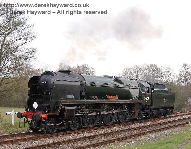 34028 Eddystone runs round it's train at Kingscote. 09.04.2007