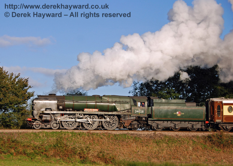 34028 Eddystone gives a steam display as it leaves Sheffield Park. 20.10.2007