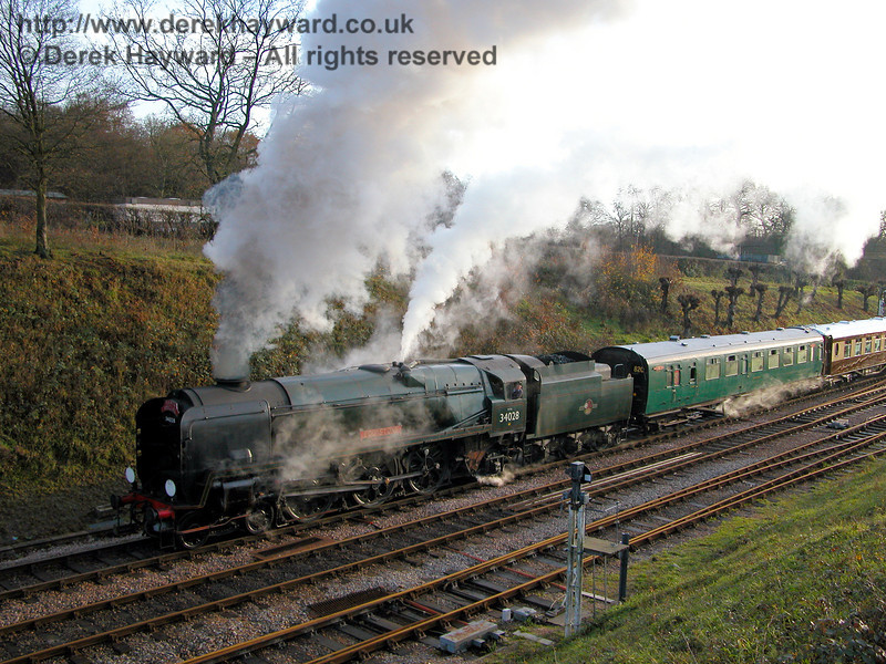 34028 Eddystone steams away from Horsted Keynes with a Santa Special. 02.12.2006