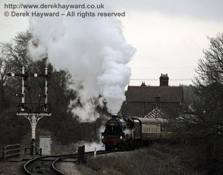 It is dusk as 45231 leaves Sheffield Park with a Santa Special.  14.12.2013  8523