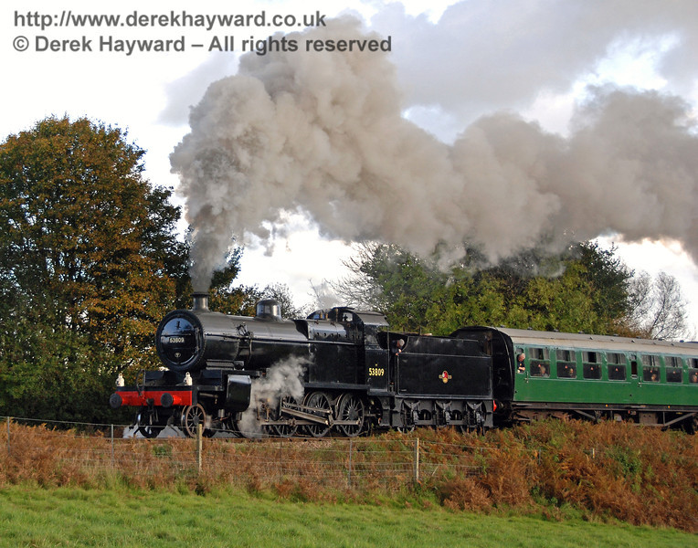 53809 gives a steam display as it climbs away from Sheffield Park. 17.10.2008