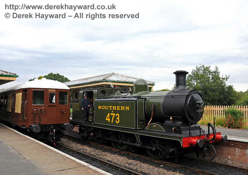Historical steam and electric traction at Kingscote as B473 passes car number 88 from 5-BEL 3051. 05.09.2010  4586