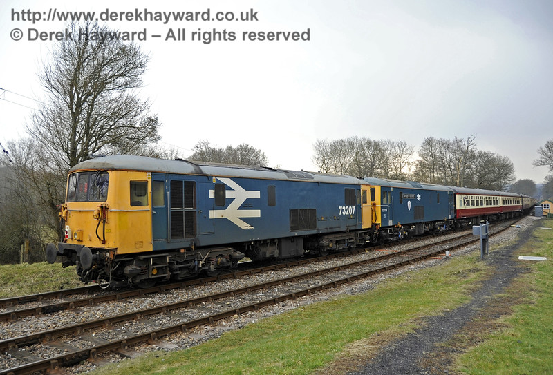"73207 and 73119 ""Borough of Eastleigh"" bring up the rear of a special train at Kingscote.  28.03.2013  6313"
