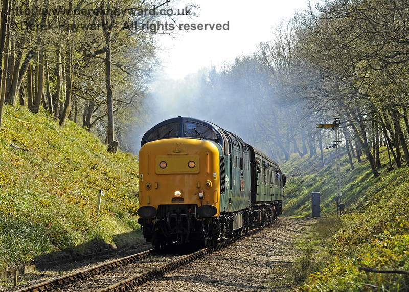 55019 Royal Highland Fusilier passes the Horsted Keynes Outer Distant signal.  18.04.2015  10798