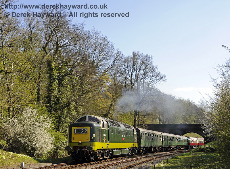 D9009 Alycidon runs north from Leamland Bridge.  18.04.2015   12292