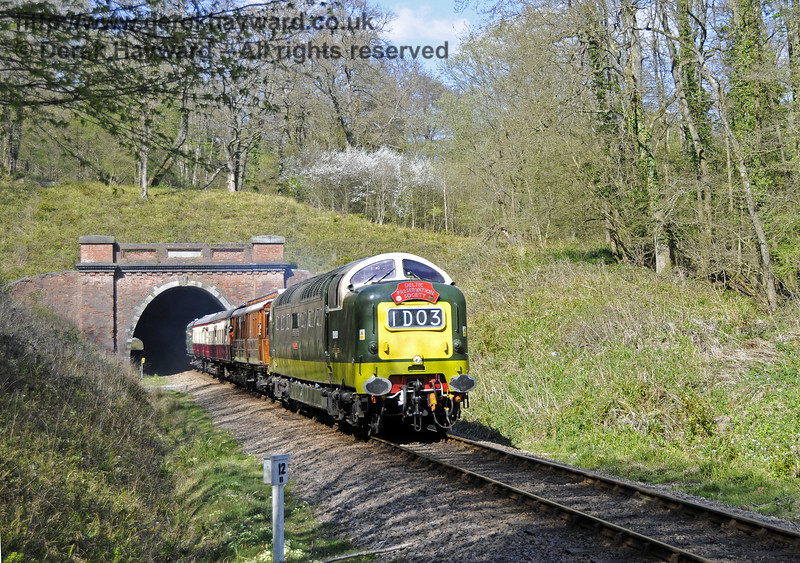 D9009 Alycidon leaves the southern end of West Hoathly Tunnel.  18.04.2015  12268