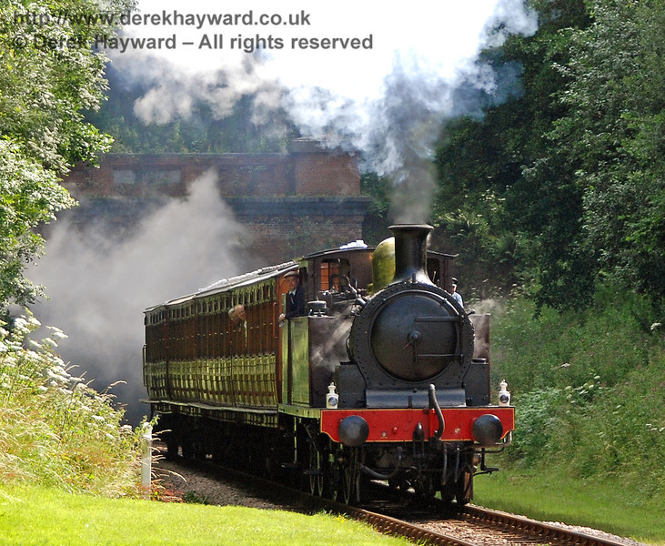 Metropolitan Railway No.1 and the Metropolitan coaches approach the site of West Hoathly station. 28.07.2007